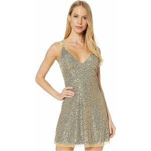 Free People Womens Dress S Gold Mini Dress NWT
